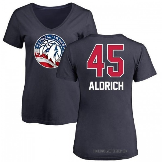 Women's Cole Aldrich Minnesota Timberwolves Navy Name and Number Banner Wave V-Neck T-Shirt